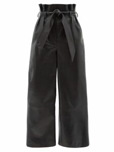 Ganni - Gathered Balloon-sleeved Crepe Blouse - Womens - Black