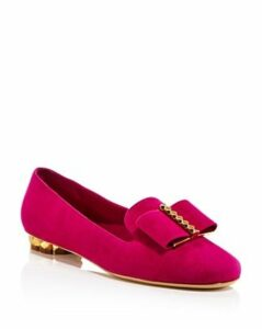 Salvatore Ferragamo Women's Sarno Woven Leather Flower Heel Loafers