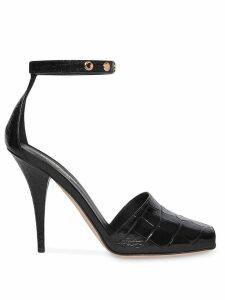 Burberry Triple Stud Embossed Leather Peep-toe Sandals - Black