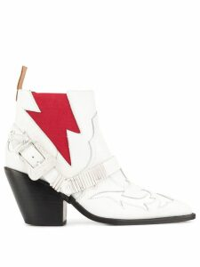 pushBUTTON Western boots - White