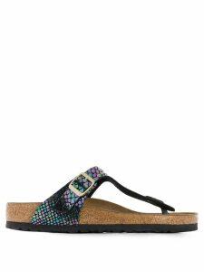 Birkenstock snakeskin holographic sandals - Black