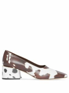 Burberry Animal Print Leather Block-heel Pumps - Brown