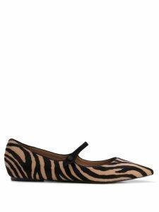 Tabitha Simmons Hermione zebra-print flats - Black