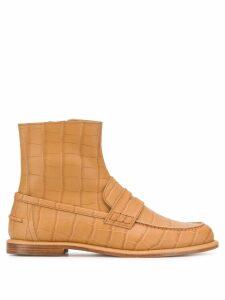 Loewe crocodile effect boots - NEUTRALS