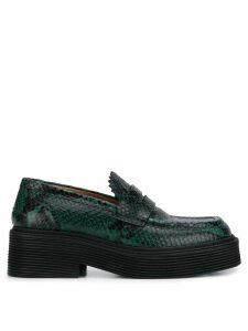 Marni snakeskin print loafers - Green