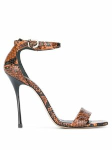 Marc Ellis Animalier snakeskin effect sandals - Brown