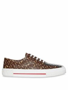 Burberry Monogram Stripe Print E-canvas Sneakers - Brown