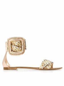 Casadei metallic woven sandals - GOLD