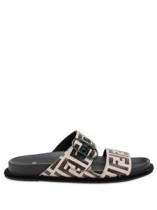 Fendi flat FF logo sandals - Brown