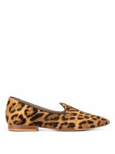 Le Monde Beryl leopard fur loafers - Brown