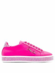 Philipp Plein Lo-Top crystal embellished sneakers - Pink