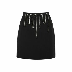 Christopher Kane Black Crystal-embellished Mini Skirt