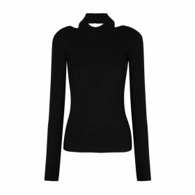 Helmut Lang Black Cut-out Stretch-knit Top