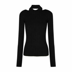 Helmut Lang Black Cut-out Stretch-knit Top