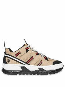 Burberry Monogram Motif Mesh and Leather Sneakers - Neutrals