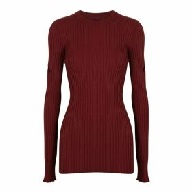 MM6 By Maison Margiela Burgundy Cut-out Rib-knit Jumper