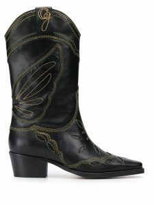 Ganni embroidered cowboy boots - Black