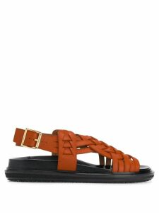 Marni intrecciato leather sandals - Orange