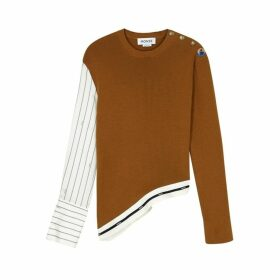 MONSE Brown Panelled Wool Jumper