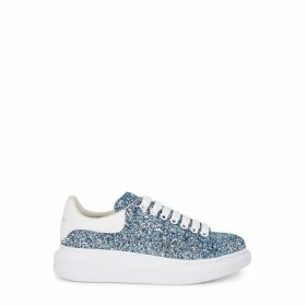 Alexander McQueen Larry Blue Glittered Leather Sneakers