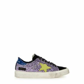 Golden Goose Deluxe Brand May Purple Glittered Sneakers