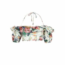 Zimmermann Allia Floral-print Cropped Linen Top