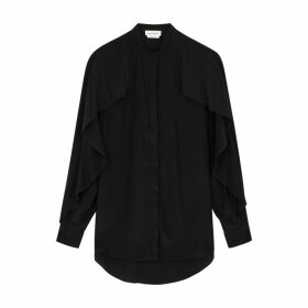 Alexander McQueen Black Ruffle-trimmed Silk Blouse