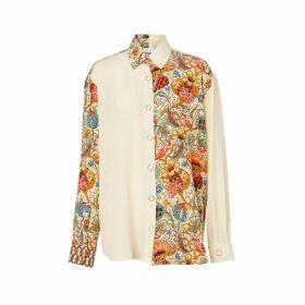 Burberry Floral Print Panel Silk Oversized Shirt