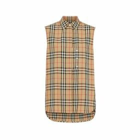 Burberry Sleeveless Vintage Check Cotton Poplin Oversized Shirt
