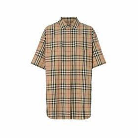 Burberry Short-sleeve Vintage Check Cotton Oversized Shirt