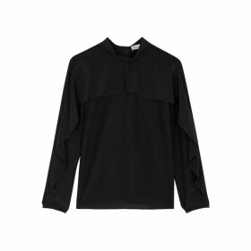 RED Valentino Black Ruffle-trimmed Silk Top