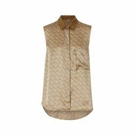 Burberry Sleeveless Monogram Print Silk Satin Oversized Shirt