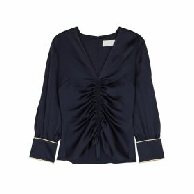 Peter Pilotto Navy Ruched Hammered Satin Top