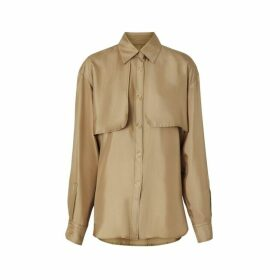 Burberry Cape Detail Silk Oversized Shirt