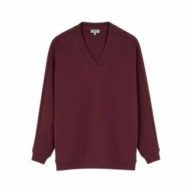 Kenzo Bordeaux Logo-appliquéd Cotton Sweatshirt