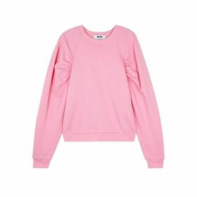 MSGM Pink Ruched Cotton Sweatshirt