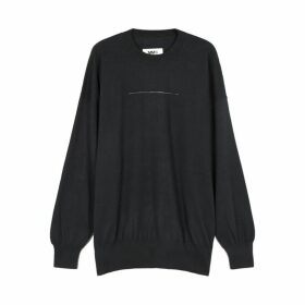 MM6 By Maison Margiela Navy Cotton And Cashmere-blend Jumper