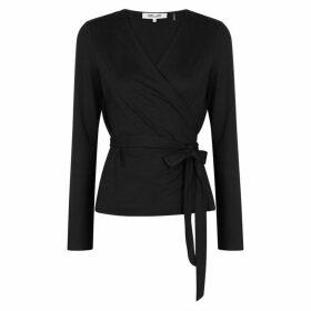 Diane Von Furstenberg Ailee Black Jersey Wrap Top