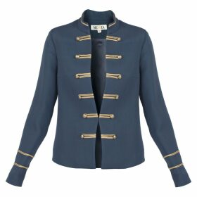 MUZA - Military Style Wool Blend Silk Jacket In Blue