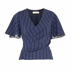 PAISIE - Striped Wrap Top With Flared Sleeves In Navy & Black