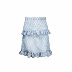 Vivienne Hu - Dusty Blue Texture Skirt With Raffle