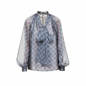 DIANA ARNO - Luisa Bow Blouse In Grey Check