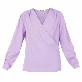 MUZA - Long Sleeve Wrap Top In Lilac