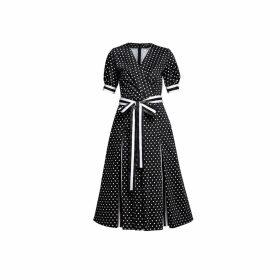 Rumour London - Jennifer Polka Dot Flared Cotton Dress With Striped Details & Slits