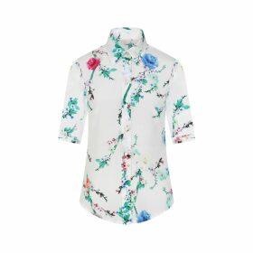Sophie Cameron Davies - White Cherry Blossom Silk Shirt