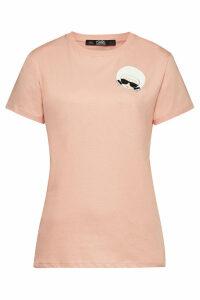 Karl Lagerfeld Karl Dots Ikonik Printed Cotton-T-Shirt with Crystals