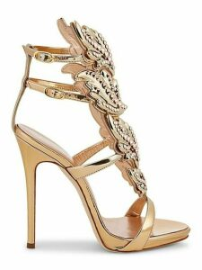 Embellished Winged Leather Sandals