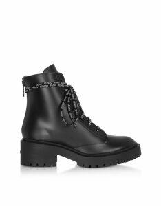Kenzo Designer Shoes, Kenzo Black Leather Women's Combat Boots