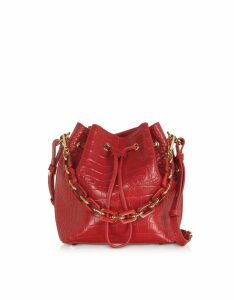 Lancaster Paris Designer Handbags, Exotic Croco Embossed Leather Bucket Bag