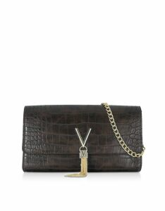 Valentino by Mario Valentino Designer Handbags, Audrey Croco Embossed Eco Leather Clutch